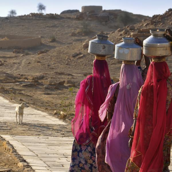 Women going to the well to collect water. Khuri, Rajastan, India. January 2011