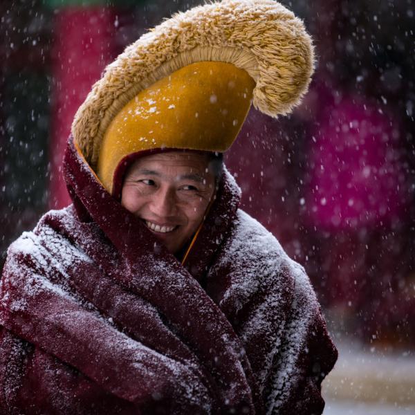 Monk of the Yellow Hat School.  Gansu, China. January 2020